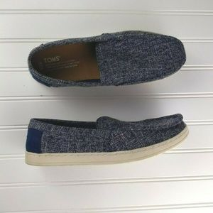 Toms Aiden Men's Slip on Shoes Navy Two-Tone Woven